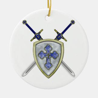 St Michael - Swords and Shield Round Ceramic Decoration
