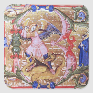 St. Michael the Archangel Monogram Antique Square Sticker