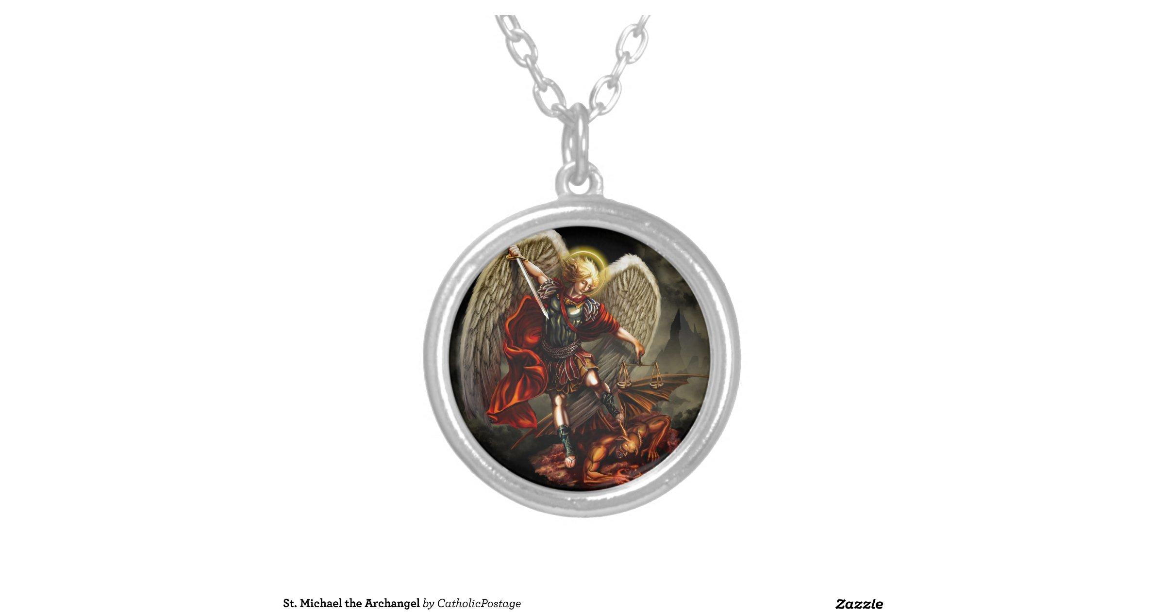 st michael the archangel round pendant necklace