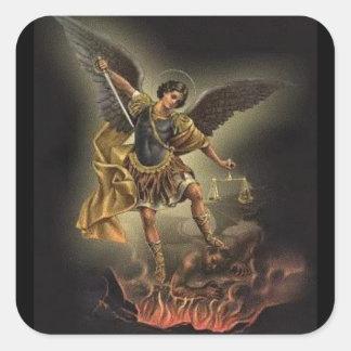 St. Michael the Archangel Sword Armour Devil Square Sticker