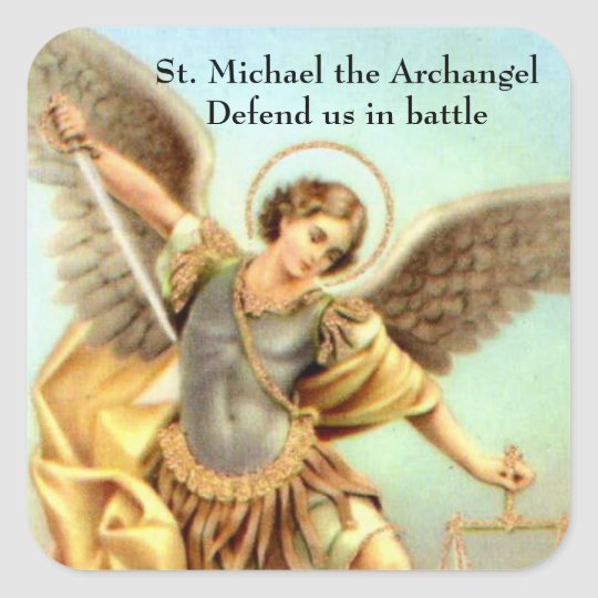 St. Michael the Archangel Sword Armour Square Sticker