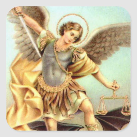 St. Michael the Archangel Sword Armour Square Sticker
