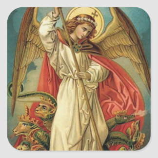 St. Michael the Archangel Sword Devil Square Sticker