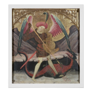 St Michael Vanquishing Evil c 1480 tempera on pa Posters