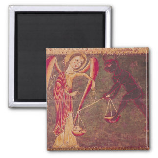 St. Michael Weighing Souls, from an altarpiece Square Magnet