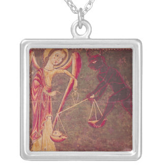 St. Michael Weighing Souls, from an altarpiece Silver Plated Necklace