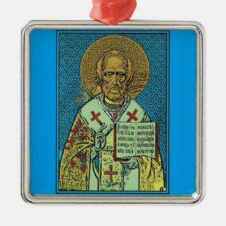 St. Nicholas [color] Silver-Colored Square Decoration