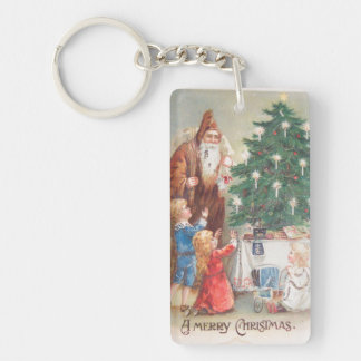 St. Nicholas in Brown Suit with Children Vintage Double-Sided Rectangular Acrylic Key Ring