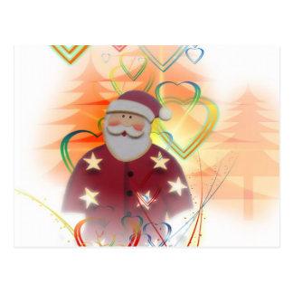 St. Nicholas Santa Clause Heart Tree Art Deco Postcard
