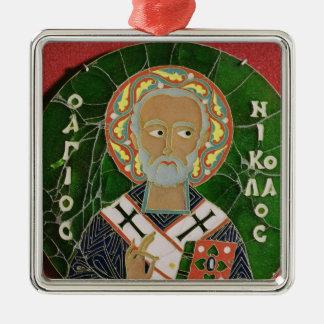 St. Nicholas Silver-Colored Square Decoration