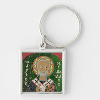 St. Nicholas Silver-Colored Square Key Ring