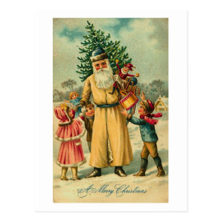 St. Nick and Kids At Christmas Postcard