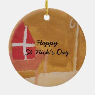St. Nick's Day Dutch Sinterklaas  Watercolor Miter Christmas Ornament