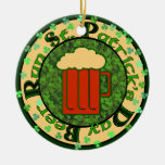 St Paddy's Beer Run Double-Sided Ceramic Round Christmas Ornament