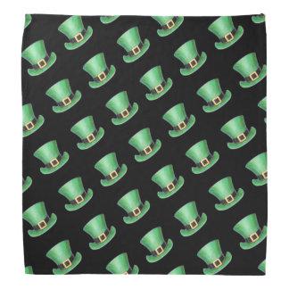 St Paddy's Day Green Top Hat Pattern on Black Bandana