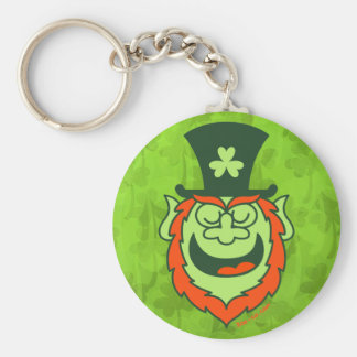 St Paddy's Day Leprechaun Promoting Party Basic Round Button Key Ring