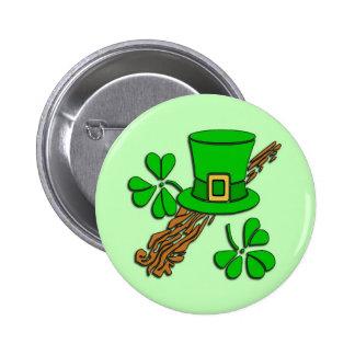 St Paddy's Hat and Shamrocks 6 Cm Round Badge