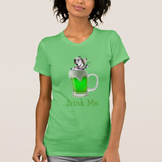 St Paddys Mad Hatter Drink Me Neon Green Beer Shirts