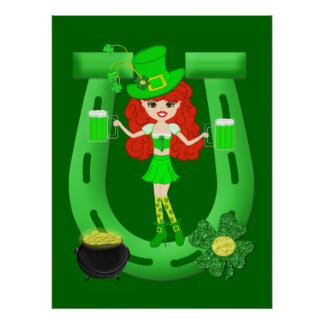 St Pat s Day Redhead Girl Leprechaun Print