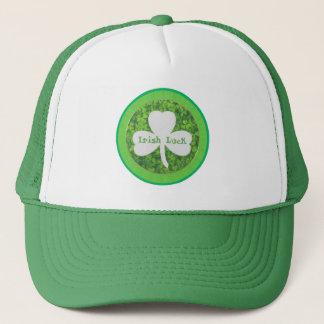 ST PATRIC+S DAY , IRISH LUCK, SHAMROCK LOGO TRUCKER HAT