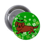 St. Patrick Day Dachshund Cartoon Buttons
