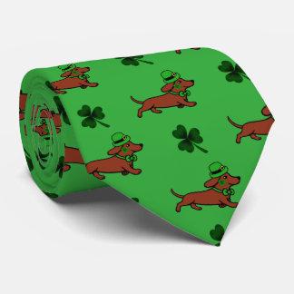 St. Patrick Day Dachshund Running Tie