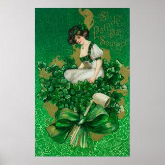 St. Patrick Day Souvenir Woman on Clover Scene Poster