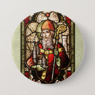 St. Patrick Digital Art Round Button Pin