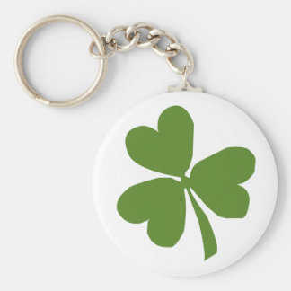 St Patrick Hearts Clover Basic Round Button Key Ring