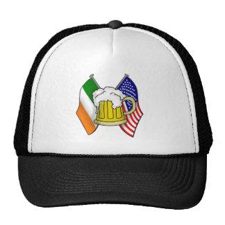 St Patrick Irish and American Flag with Beer Mug Cap