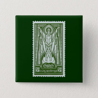 St. Patrick Irish Postage Stamp 15 Cm Square Badge