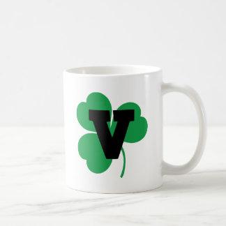St Patrick Letter V Alphabet Basic White Mug
