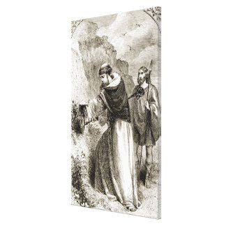 St. Patrick marking Connal's shield with the Cross Canvas Print