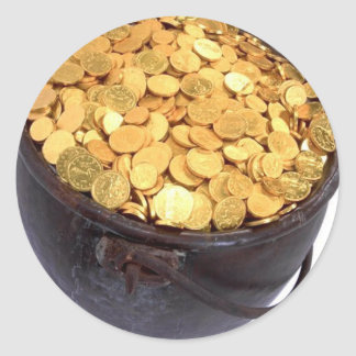 St Patrick&- Pot of Gold Round Sticker