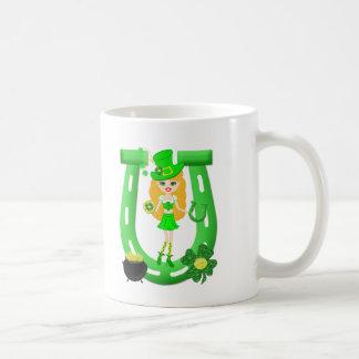 St Patrick's Day Blonde Girl Leprechaun Basic White Mug