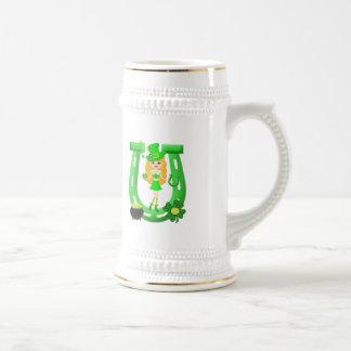 St Patrick's Day Blonde Girl Leprechaun Beer Steins