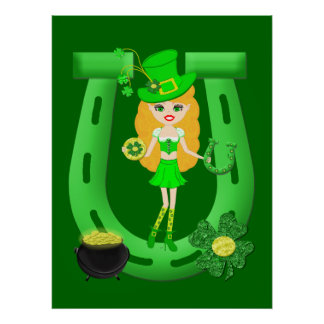 St Patrick's Day Blonde Girl Leprechaun Poster