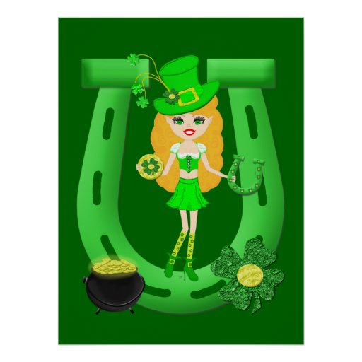 St Patrick's Day Blonde Girl Leprechaun Print