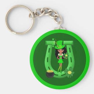 St Patrick's Day Brunette Girl Leprechaun Key Chains