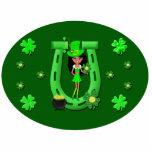 St Patrick's Day Brunette Girl Leprechaun Photo Cut Outs