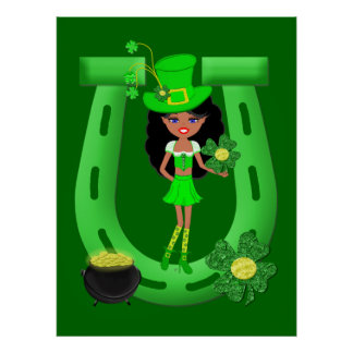 St Patrick's Day Brunette Girl Leprechaun Poster