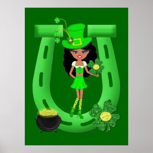 St Patrick's Day Brunette Girl Leprechaun Print