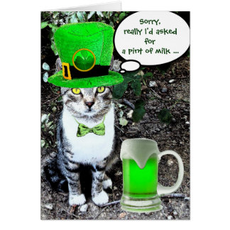 ST PATRICK S DAY CAT WITH GREEN IRISH BEER GREETING CARDS