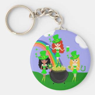 St Patrick's Day Girl Leprechauns Keychain
