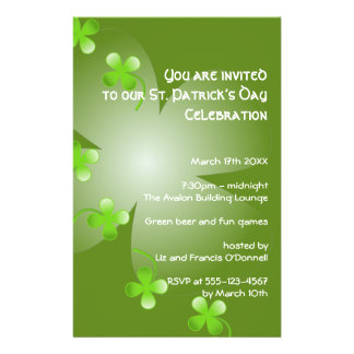 St Patrick s Day green clover party event small Flyers
