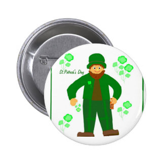 St Patrick s Day Green Leprechaun Pinback Button