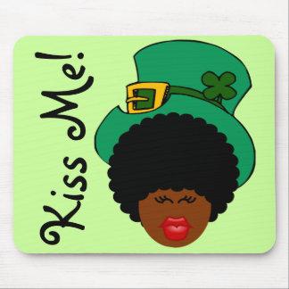 St Patrick s Day Humor Kiss Me I m Black Irish Mousepads