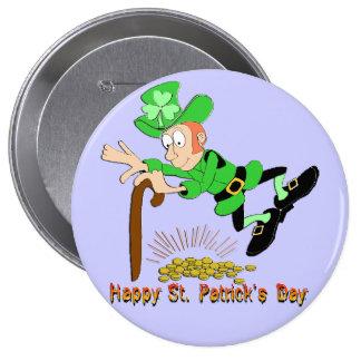 St Patrick s Day Leprechaun Gold Pinback Buttons