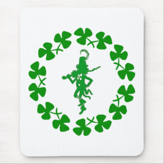 St. Patrick's Day Leprechaun Shamrock Ring  Mousep Mouse Pad