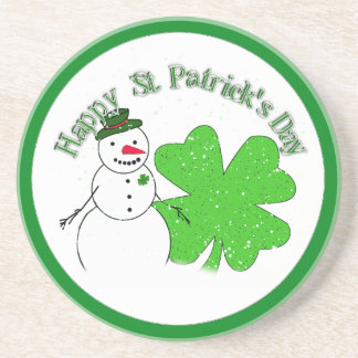 St Patrick s Day Lucky Snowman Drink Coaster